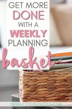 Of all the to-do list methods I have found the weekly planning basket to be a life changer. Small Space Organization, Paper Organization, Storage Organization, Organize Your Life, Organizing Your Home, Organizing Tips, Organising, Home Design, Interior Design