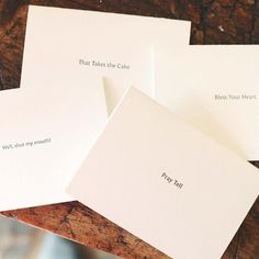 """Adorable letterpress notecards with """"Southern Sayings"""" in black ink.Sophisticated and fun!Box includes 5 cards with one of each southern phrase.""""""""Pray Tell""""""""Bless her heart""""""""That takes the cake"""""""