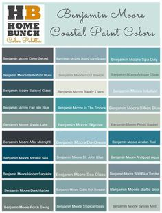 Benjamin Moore Color Palette, Benjamin Moore Color Ideas, Benjamin Moore Coastal Colors, Benjamin Moore gray-blues to aquas and into the deep blue and green paint color. Coastal Paint Colors, Green Paint Colors, Kitchen Paint Colors, Exterior Paint Colors, Paint Colors For Home, Wall Colors, Coastal Decor, Coastal Style, Coastal Cottage