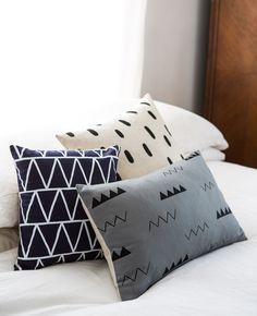 Grey Zig Zag Throw Pillow - Cotton & Flax
