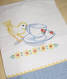 Sweet Embroidered Tea Towel    Bird With Coffee Cup.