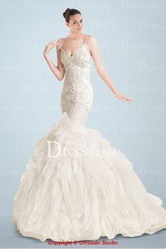 Outstanding Mermaid Wedding Gown Featuring Beautifully Lace Appliqued Bodice and Organza Ruffled Skirt
