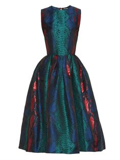 House Of Holland Snake-effect jacquard midi dress
