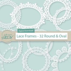 Premium Digital Lace Frames Lace Border Clip Art by AmandaIlkov