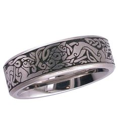 Picture of Flat profile Titanium ring with Celtic animal artwork.