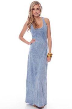 Low Dye Racerback Maxi Dress in Denim Blue :: tobi