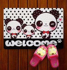 Kawaii pandas - Doormat - DM6 | ChibiBunny - Furnishings on ArtFire