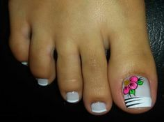 Diseño Pedicure Nail Art, Toe Nail Art, Toe Nails, Toenail Art Designs, Pedicure Designs, White Toenails, Pretty Pedicures, Nails 2017, Polish