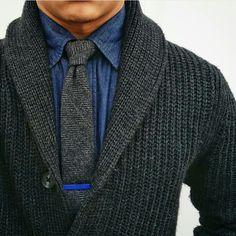 Grey Shawl Sweater