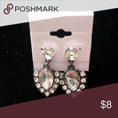 """Classic glass Earrings Gun metal finish Glass stones Vintage look 1.5"""" drop Jewelry Earrings"""