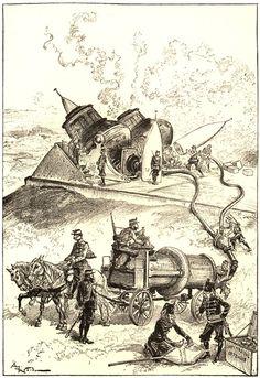 """La Vie Électrique"" by Albert Robida, 1890 Jules Verne, Albert Robida, Mad Movies, Steampunk Kunst, Victorian Illustration, Days Of Future Past, Black And White Lines, Dieselpunk, Faeries"