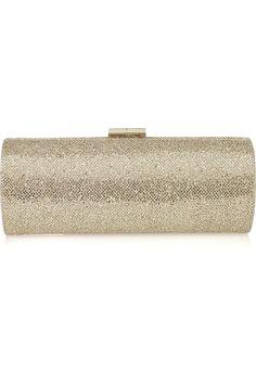 Jimmy Choo|Tube glitter-twill clutch|NET-A-PORTER.COM