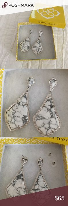 Kendra Scott Earrings Kendra Scott Earrings. Beautiful marble and silver. Perfect condition. Never worn. About 3 inches in length. Kendra Scott Jewelry Earrings
