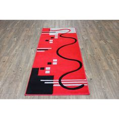 Lines Red Grey Hand Carved Runner Area Rug
