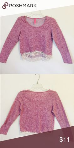 Long sleeve cropped shirt Cropped high-low fit. Looks super cute on. Pretty mauve color with lace on the bottom. Tops