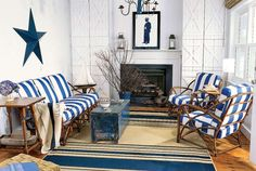 Blue and White On a Budget: Driven by a nautical theme, the living room combines a refreshing scheme of crisp blue and white. A Heywood Wakefield rattan set—an inspiring flea market find—offers vintage appeal. Dressed with durable outdoor fabrics, it becomes a sensible, as well as stylish, investment. Coordinating accessories from Pottery Barn, Marshalls, and HomeGoods fit the look and budget. For a personal touch, a 1940s-era photograph was enlarged and color-copied in bright blue…