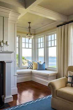 Stunning Window Seat Ideas, Home theater design, Corner Window Seats, Corner Windows, Home Windows, Corner Nook, Window Seat Kitchen, Corner Space, Bay Windows, Room Window, Windows And Doors