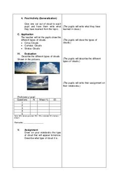 Detailed lesson plan in Science III Basic Types of Clouds Grade 1 Lesson Plan, Daily Lesson Plan, Science Lesson Plans, Kindergarten Lesson Plans, Science Lessons, Art Lesson Plans, English Lesson Plans, English Lessons, Central Elementary School