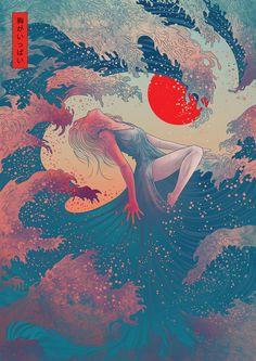 Contemporary Japanese Art on Behance - Contemporary Art Japanese Artwork, Modern Japanese Art, Japanese Painting, Japanese Drawings, Japanese Art Samurai, Japanese Waves, Traditional Japanese, Japanese Style, Japanese Girl