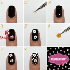 Semi-permanent varnish, false nails, patches: which manicure to choose? - My Nails Gel Nail Art, Nail Art Diy, Easy Nail Art, How To Nail Art, Daisy Nails, My Nails, Nails At Home, Nail Art Designs, Flower Nail Designs