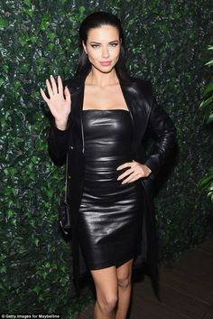 Adriana Lima wears black leather mini-dress at Maybelline NYFW party #dailymail