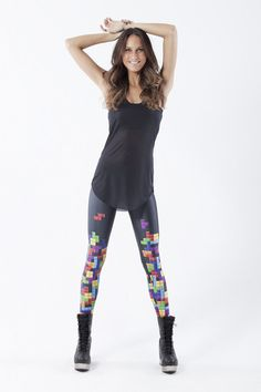 Tetris leggings. Hermione from that Bravo show wears these all the time. Sold out on this site, but loads of other designs to choose from.