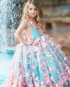 flower girl dress, pink and aqua couture flower girl dress / http://www.deerpearlflowers.com/flower-girl-dresses-shops/3/