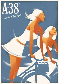 Inspired by vintage posters, but re-adapted with today's modern style, Danish illustrator Mads Berg has a pretty impressive way of using lines and curves in his artwork.
