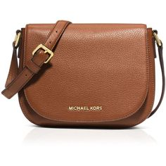 Michael Michael Kors Crossbody - Bedford Medium Flap Messenger found on Polyvore featuring polyvore, women's fashion, bags, messenger bags, purses, accessories, luggage, brown messenger bag, brown saddle bags and leather crossbody bags