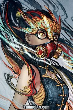 Dissent by yuumei on DeviantArt High Fantasy, Fantasy Art, Yuumei Art, Gas Mask Girl, Cyberpunk Kunst, Dragon Mask, Mask Drawing, Lion Art, Masks Art
