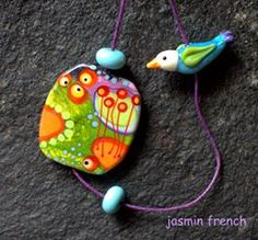 °° BIRDY'S TRIP °° set on lampwork bead by jasmin french