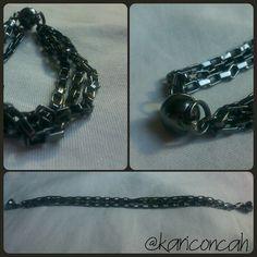 Bracelet pulseira grafite de corrente com fecho de imã by @kariconcah