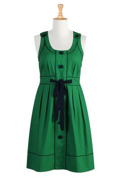 Oh, this is such a cute green shirtdress that I could actually wear since it's not really buttoned up the front.