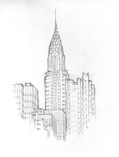 The Chrysler Building – Sketch - New York tattoo design Watercolor Architecture, Architecture Sketchbook, Art Sketchbook, New York Tattoo, Building Drawing, Building Sketch, Building Tattoo, Cityscape Drawing, City Drawing