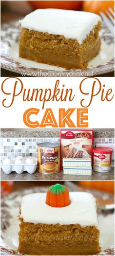Pumpkin Pie Cake recipe from The Country Cook. So moist and yummy! Only 5 ingredients! I think this is going to replace pie at Thanksgiving! Cake for boss Köstliche Desserts, Delicious Desserts, Dessert Recipes, Yummy Food, Homemade Desserts, Health Desserts, Plated Desserts, Pumpkin Pie Cake, Pumpkin Dessert