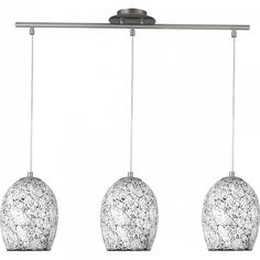 The Aura 3L Bar Pendant has three beautiful mosaic effect glass shades suspended from a polished chrome bar #lighting