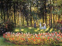 Familie des Künstlers an  der  garten , öl von Claude Monet (1840-1926, France)