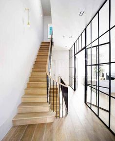 I WANT THESE STAIRS love them completely. Wooden tread, simple handrail and balustrade. BY Michaelis Boyd Associates – staircase Crittal Doors, Crittall Windows, Architecture Design, Holland House, Staircase Design, Narrow Staircase, Interior Exterior, Interior Doors, Kitchen Interior