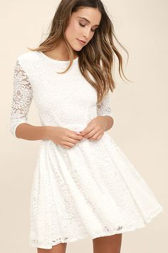The It& a New Day White Lace Skater Dress is here to bring some cheer to your wardrobe! Lovely floral lace shapes a rounded neckline and sheer, three-quarter length sleeves. A fitted, darted bodice tops a full skater skirt for your twirling pleasure! Trendy Dresses, Day Dresses, Cute Dresses, Casual Dresses, Dress Outfits, Dresses With Sleeves, White Dress With Sleeves, Simple White Dress, Winter Dresses