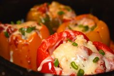 Rosemary chicken stuffed bell peppers with cheddar. So yum! Low #FODMAP