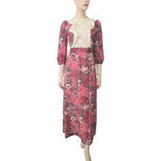 Floral Peasant Maxi Dress Vintage 1970s Organdy Lace