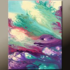 Abstract Canvas Art Painting 16x20 Original Contemporary Modern Wall Art Paintings by Destiny Womack - dWo -  A Sea of Dreams. $69.00, via Etsy.
