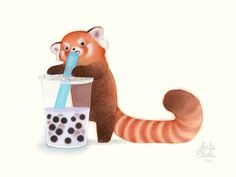 Print - Red Panda with a Boba - 8x10in Art Print - Red Panda Illustration