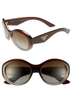 Prada 'Oval Glam' 55mm Polarized Sunglasses available at #Nordstrom