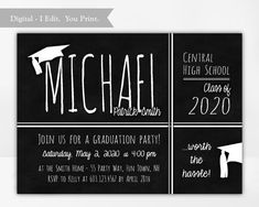 Graduation Party Invitation for a Boy, Chalkboard Background, College Graduation Invite, High School Graduation, 8th Grade, Printable Graduation Invitations College, High School Graduation, Chalkboard Background, High School Classes, Invite, Printable, Boys, Baby Boys, Children