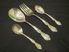 1959 Wm Rogers Grand Elegance Serving Spoon Fork Berry Sauce Silverplate Lot #WmRogers