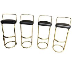 Set of Four Brass Bar Stools