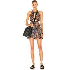 Missoni Mare Mini Halter Beach Dress ($710) ❤ liked on Polyvore featuring dresses, crochet halter top, halter top, missoni mare, halter strap dress and halter mini dress