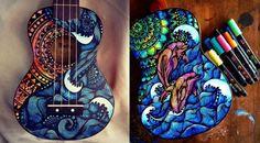 Estos impresionantes y coloridos diseños de guitarras corren a cargo de Lauren Swan (Salty Hippie Art), una mujer afincada en Sidney que se dedica a vend...
