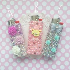 rhinestone decorated lighters.